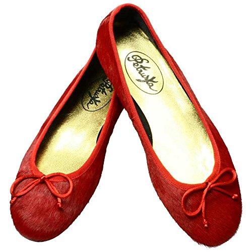 Ballerinas Miramichi - Ballerina Schuhe aus echtem Fell in flammendem Rot