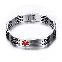 Lam Hub Fong Free Engrave Adjustable Medical Bracelets Mens Emergency ID Bracelets For Women Kids Titanium Steel Medical Alert Bracelets