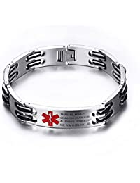 Free Engrave Adjustable Medical Emergency ID Bracelets For Men Women Kids Titanium Steel Alert Bracelets