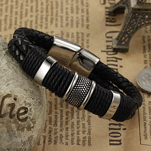 Mens 316L Stainless Steel Leathe...