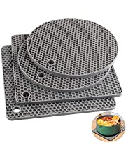Silicone Trivet Mats, Silicone Pot Holders for Hot Pots and Pans. Heat Resistant Counter Mats for Tables, Countertops, Spoon Rest and Large Coasters, 4 Pack Light Gray, 2 Square + 2 Round Mats