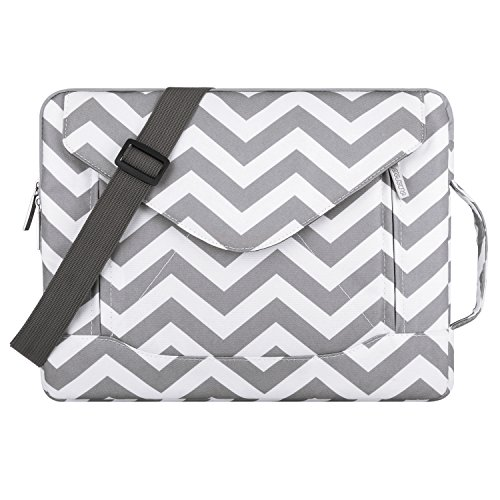 Price comparison product image MOSISO Laptop Shoulder Bag Compatible 13-13.3 Inch MacBook Pro,  MacBook Air,  Notebook,  Polyester Fabric Envelope Messenger Laptop Sleeve Handle Case Cover,  Chevron Gray