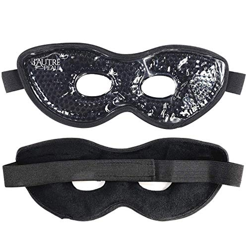 Therapeutic Spa Gel Bead Eye Mask - Hot or Cold Reusable Ice Packs with Flexible Beads - Compress Therapy for Puffy Eyes, Dark Circles, Headaches, Migraines - 2 Pack (Black with Plush Back)