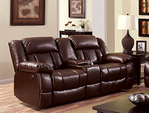 Furniture of America Rosamund Recliner Love Seat with Power-Assist (Brown Leather Motion Home Theater)