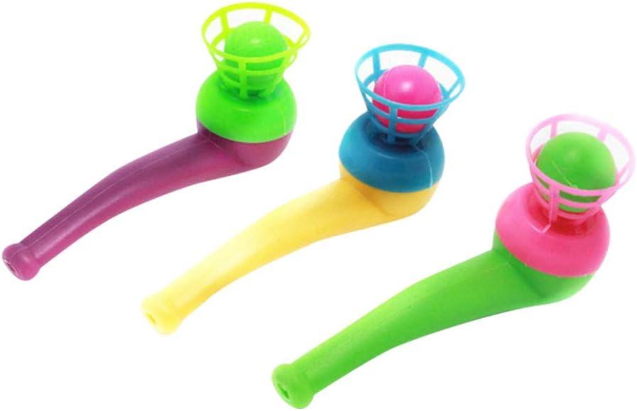 SUPVOX 10 piezas de plástico bola flotante de juguete que sopla juego de pelota Blow Pipe para niños bebé niño