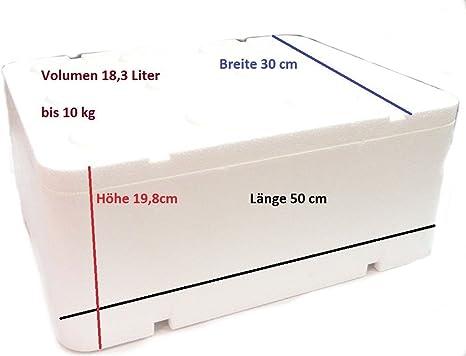 Caja térmica de poliestireno con tapa, 18,32 litros / 500 x 300 x 198 mm, nevera portátil para acampar: Amazon.es: Deportes y aire libre