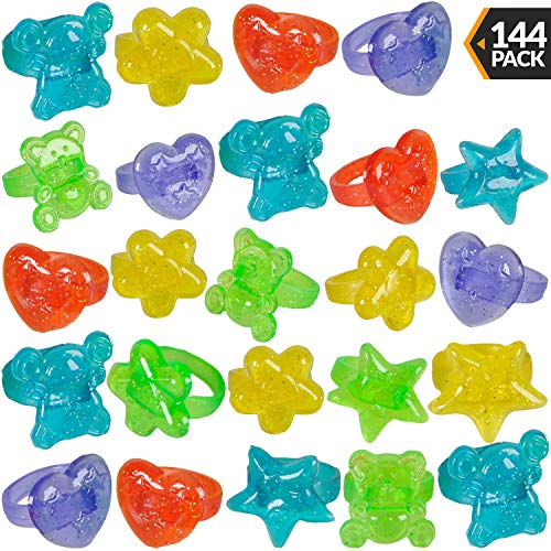 Plastic Glitter Rings - (144 Piece Bulk) Assorted Colors and Designs, Small Toys for Prizes, Birthdays, Carnival Prizes, Treasure Chest Toys, Goodie Bag Favors for Kids