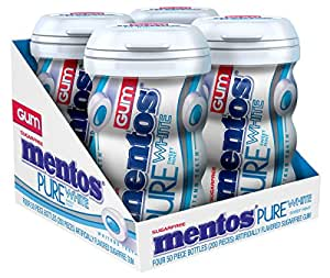 Mentos Gum Sugar Free, Pure White Sweet Mint, 50 Piece (Pack Of 4)