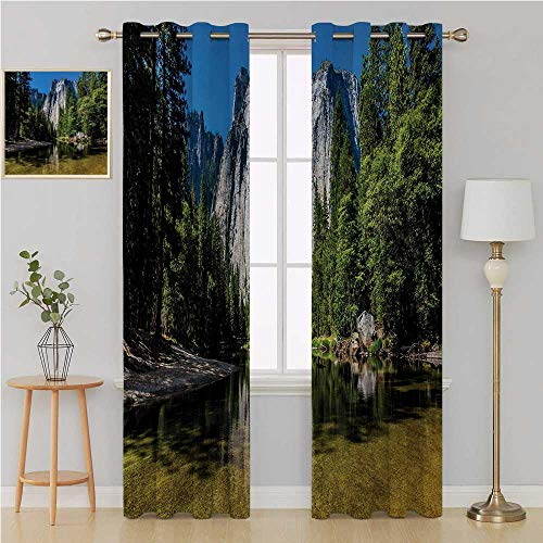 (Benmo House Yosemite grommit Curtain Blackout Window Curtain Panel, Solid PatternLarge Granite Cliff Surrounded by Trees River Under Clear Sky Wild Beauty Scenerycurtains 120 by 108 InchGreen Blue)