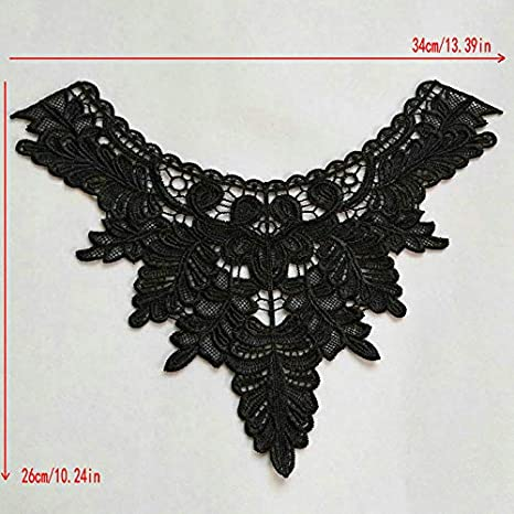 2 pcs Polyester Black Fabric Flower Lace Sewing Applique Lace Collar Neckline Collar Applique DIY Accessory Color A