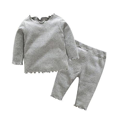 (Tem Doger Pajamas Colorful Baby Girls' 100% Cotton Pajamas Set 2 Piece Sleepwears Pjs (Grey, 95/18-24 Months) )