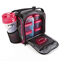The Jaxx fuel pack has all of the essentials to fuel your day. Set includes (6) leak-proof containers [ (2) 1 cup containers and (4) 2 cup containers], a patented Jaxx Shaker cup, a pocket Vitamin pack and a large ice pack all inside an insul...