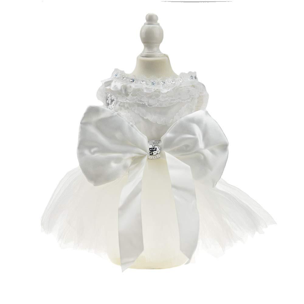 Amazon Fladorepet Bling White Lace Dog Puppy Luxury Bow Dress