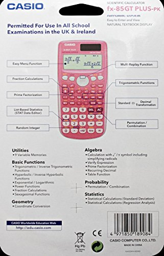Casio FX-85GTPLUSPK Scientific Calculator, Pink (Old model