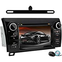 YINUO Touch Screen Car Stereo for Toyota Tundra Sequoia 7-Inch 800 HD In-Dash Vehicle GPS Navigation A/V receiver with DVD 1080P Video iPod iPhone AV-IN Steering Wheel Control Backup Camera