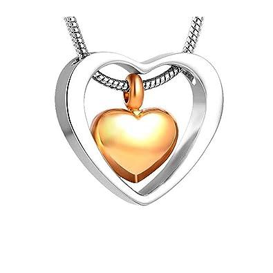 Cremación Joyas Diseño de Corazón Colgante de Acero inoxidable Collar Con Colgante en Forma de Corazón de Memorial Cenizas Recuerdo