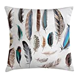 yoga body part four - Ambesonne Feather House Decor Throw Pillow Cushion Cover, Western Feather Setting Pigmented Bird Body Parts Growth Nature Art Design, Decorative Square Accent Pillow Case, 24 X 24 Inches, Multi