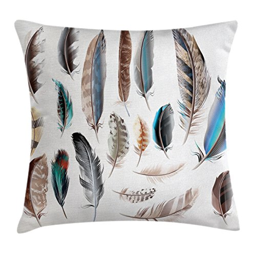 Ambesonne Feather House Decor Throw Pillow Cushion Cover, Western Feather Setting Pigmented Bird Body Parts Growth Nature Art Design, Decorative Square Accent Pillow Case, 18 X 18 Inches, Multi