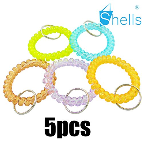 Shells 5PCS Colorful Assorted Flesible Plastic Spiral Coil Wrist Band Stretchable Key Ring Chains With Key Holders