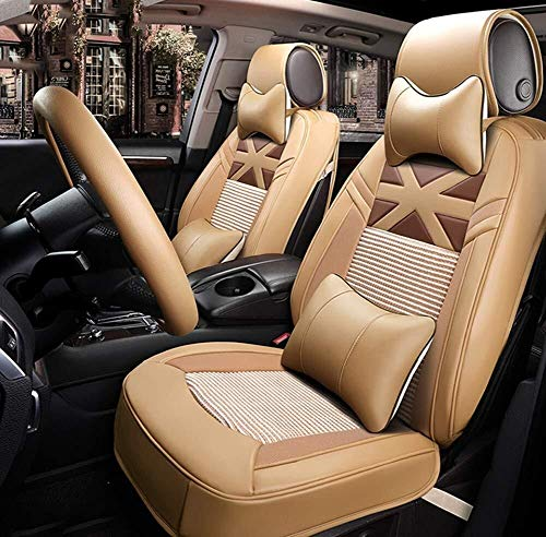 Ice Silk Luxury Car Seat Cover - Non-Slip Suede Backing Universal Fit Cushion for Fabric and Leather Car Seats (Color : Beige):
