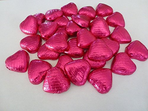 Sweet Heaven 100 Hot Pink Cerise Foil Chocolate Love Hearts Wedding (Cerise Foil)