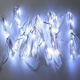 LED Rope String Lights, Patio Lights Umbrella Lights Hanging Outdoor Indoor Wall Decoration DIY Decoration for Bedroom Garden Holiday, Waterproof Lights Dimmable with Remote Control (cold white light)