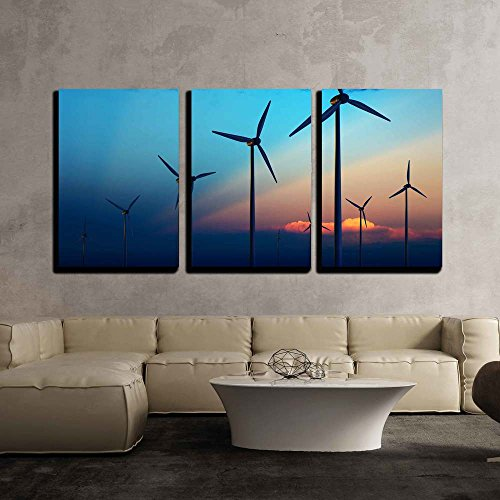 Sun Farms - wall26 - 3 Piece Canvas Wall Art - Wind Turbine Farm with Rays of Light at Sunset - Modern Home Decor Stretched and Framed Ready to Hang - 24