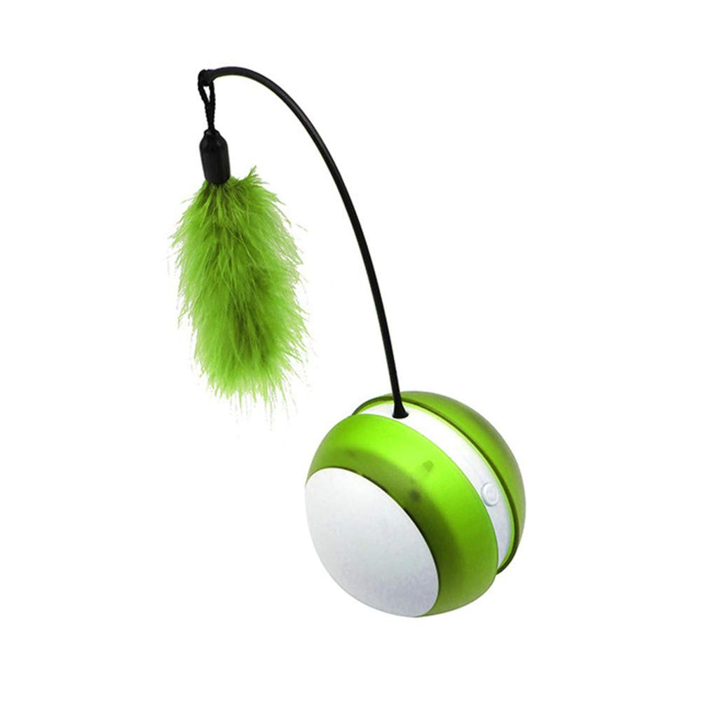 LDDPP Electric Cup Glow Vocal Rolling Ball with Feather Cat Toy Cat Toy Automatic Rotating Ball Toy Catcher Interactive Toys Interactive, Motion Sensing Teaser Toy for Cats, Motion Activated Models