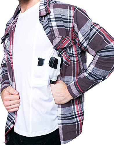 GrayStone Tactical Concealed Carry Men's Gun Holster Shirt V Neck - Concealment Compression Shirt CCW Clothing White Large