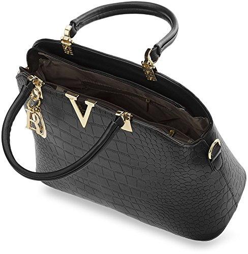 klassische Damentasche steife Ausführung City – Tasche Bowlingbag Kroko - Muster