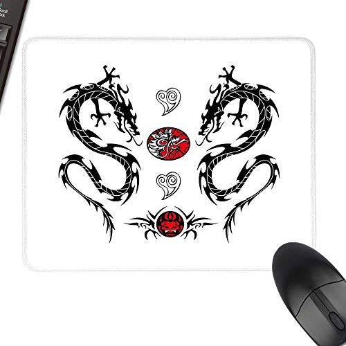 Japanese Dragon Wrist Comfort Mouse Pad Tribal Tattoo Style Asian Indigenous Creatures with Artistic Details Natural Rubber Gaming Mouse Mat 23.6