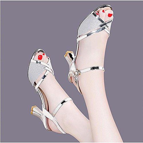 Bocca Scarpe Tacco 34 Selvagge Colore di Silver Moda Sandali Coreana Dimensioni Nuovi Versione Pesce UqYxO8ptw
