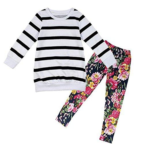 Little Girls Cute Long Sleeve Top  Pant Clothes Set Stripped