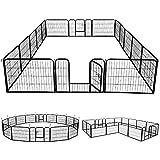 Yaheetech 24'' Tall 16 Panels Dog Playpen Metal Dog Puppy Cat Exercise Fence Barrier Pet Playpen,Outdoor & Indoor,Black