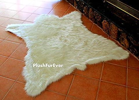 Faux Fur Rug Polar Bearskin Off White Modern Area Shaggy Rug 5' X 6' or 60