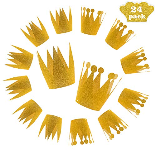 24 Pack Gold Crown Hats Kids Pets Birthday Party Decoration -