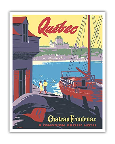 (Pacifica Island Art - Château Frontenac - Quebec, Canada - Canadian Pacific Hotel - Vintage World Travel Poster by Peter Ewart c.1947 - Fine Art Print - 16in x 20in)