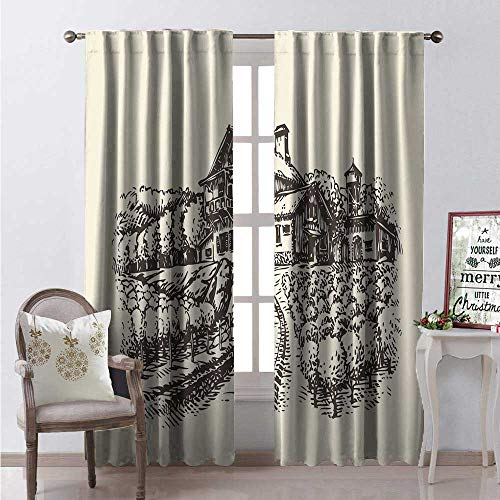 Farmhouse Room Darkening Wide Curtains Artistic Hand Drawn Rustic Vineyard Agriculture Themed Sketch Illustration Waterproof Window Curtain W84 x L108 Brown and Ivory