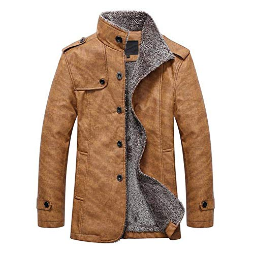 kemilove Men's Casual Sherpa Fleece Lined Jacket Warm Coat with Fur Collar Button Winter Quilted Coat (Notched Fur Collar Coat)