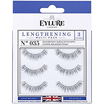 a6db006493a Eylure Lengthening False Eyelashes Multipack, Style No. 035, Reusable,  Adhesive Included, 3 Count