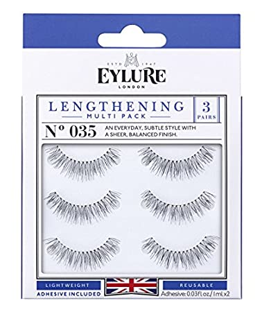 1eef65e8563 Amazon.com : Eylure Lengthening False Eyelashes Multipack, Style No. 035,  Reusable, Adhesive Included, 3 Count : Beauty