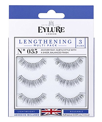 Eylure Lengthening False Eyelashes Multipack, Style No. 035, Reusable, Adhesive Included, 3 Count