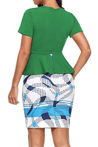 Lápiz De De La Fiesta Coctel Mujer YACUN Vestido Corta Verde Falda Oficina Manga qwaxxUEvdC