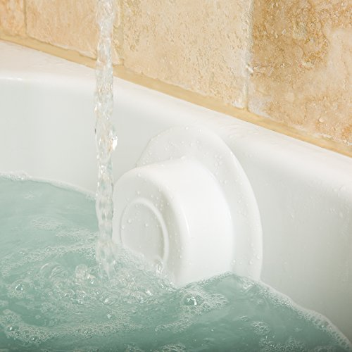 B.N.D TOP Bathtub Overflow Drain Cover Bath Drain Stoppers Spa Like More Inches of Water to Tub for Relax Deep Bath, White silicone, 100% Recyclable, 4 Diameter