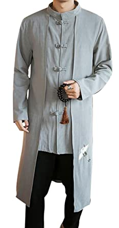 3d59acbd3 OTW-Men Long Sleeve Embroidered Vintage Long Chinese Trench Coat Overcoat  Light Grey XXXXL