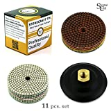 Diamond Polishing Pads Stonecraft - 4 inch Wet/Dry 11 Piece Set with White Buff + Backed Pad for Granite Marble Concrete