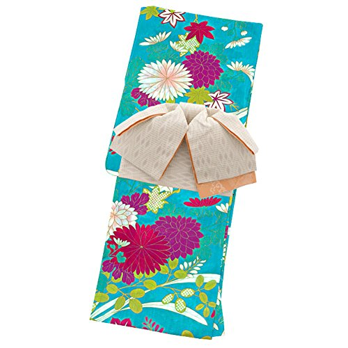ビジターハンカチ空虚[ KIMONOMACHI ] 作り帯 浴衣セット「クリアブルーに菊模様」F