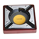 Best Ceramic Ashtray Of Squares - LEBIN Large Square Metal and Wood Cigar Ashtray Review