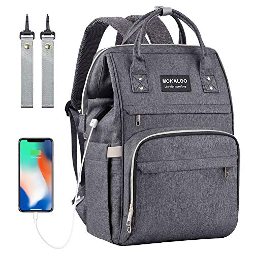 Diaper Bag Backpack, Mokaloo Large Baby Bag, Multi-functional Travel Back Pack, Anti-Water Maternity Nappy Bag Changing Bags with Insulated Pockets Stroller Straps and Built-in USB Charging Port, Dark from Mokaloo