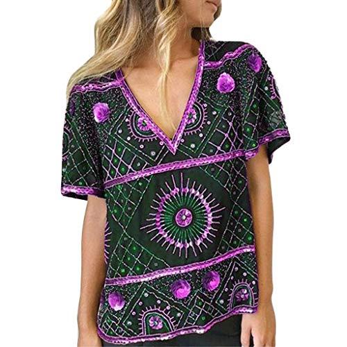 BCDshop Summer Shirt Clearance Women Short Sleeve V-Neck Vintage Print T-Shirts Tops Blouses Ladies Loose Casual Tees (L, Purple) ()